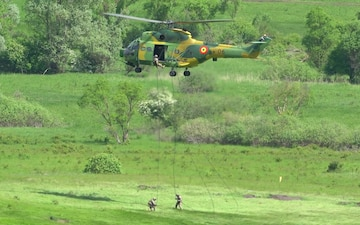 Romanian IAR 330 PUMA SOCAT helicopters and F-16 Fighting Falcon in Romania for NATO exercise Steadfast Defender 2021