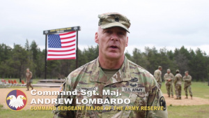 Command Sgt. Maj. Andrew Lombardo talks Expert Field Medical Badge conducted by Reserve at Fort McCoy