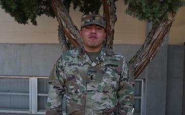 1st Lt. Juan Mendoza wishes the U.S. Army happy birthday