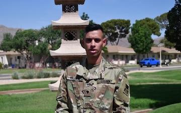 Spc. Naipaul wishes the U.S. Army a happy birthday