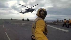 USS America Replenishment-at-Sea with USNS Rappahannock, USNS Charles Drew
