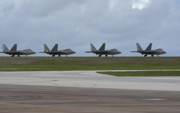 F-22 Raptors prepare for take off during Pacific Iron 2021