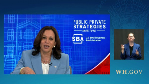 Vice President Harris and SBA Administrator Guzman Drops by a Meeting with Small Business Owners