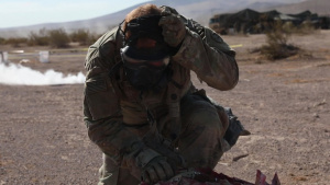 Medics from the Oklahoma Army National Guard, 45th Infantry Brigade Combat Team, participate in a training exercise to treat a chemically contaminated soldier at The National Training Center in Fort Irwin, California, on July 28, 2021.