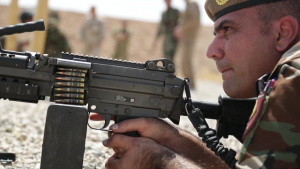Peshmerga soldier conducts shooting training