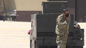 B-2 crew chiefs perform aircraft checks during Global Strike Challenge 2021