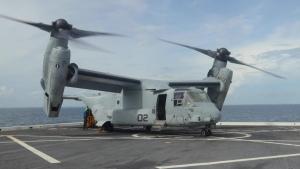 MV-22 Osprey delivers stores to USS Arlington