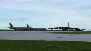 B-52H Stratofortress taking a bath
