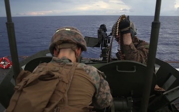 U.S. Marines with LAR conduct a Live Fire Deck Drill