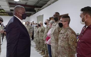 SECDEF visits U.S. servicemembers, diplomats, volunteers assisting in Afghan evacuations at Al Udeid Air Base, Qatar