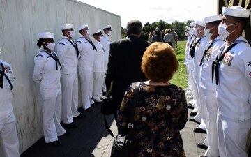 USS Somerset Sailors open Ceremonial Gate During 20th 9/11 Observance