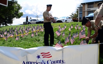 USS Somerset Sailors plant Flags on PA Turnpike