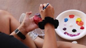 Camp Arifjan Paints Rocks for Mental Health