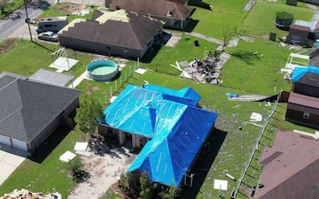 USACE Blue Roof Install Complete - Drone B-Roll LaPlace, LA