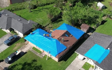 Drone - USACE installs 20,000th blue roof in Houma, LA