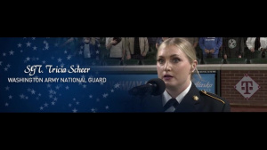 Sgt. Tricia Scheer fulfills her dream of singing the National Anthem at T-mobile Park