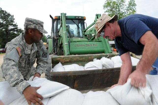 Sandbag operations in Arkansas