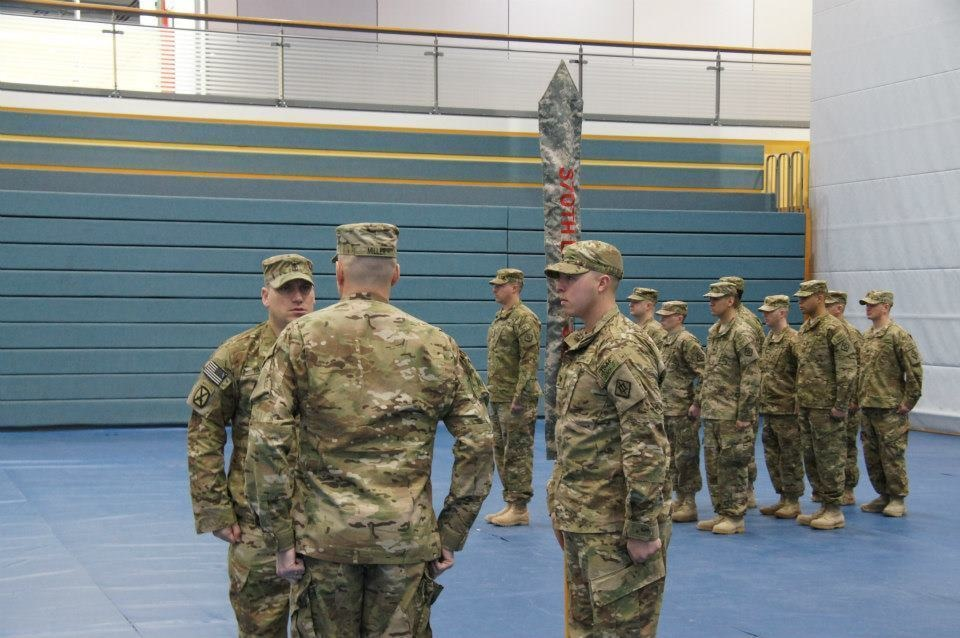370th Sapper Company cases guidon, prepares for deployment