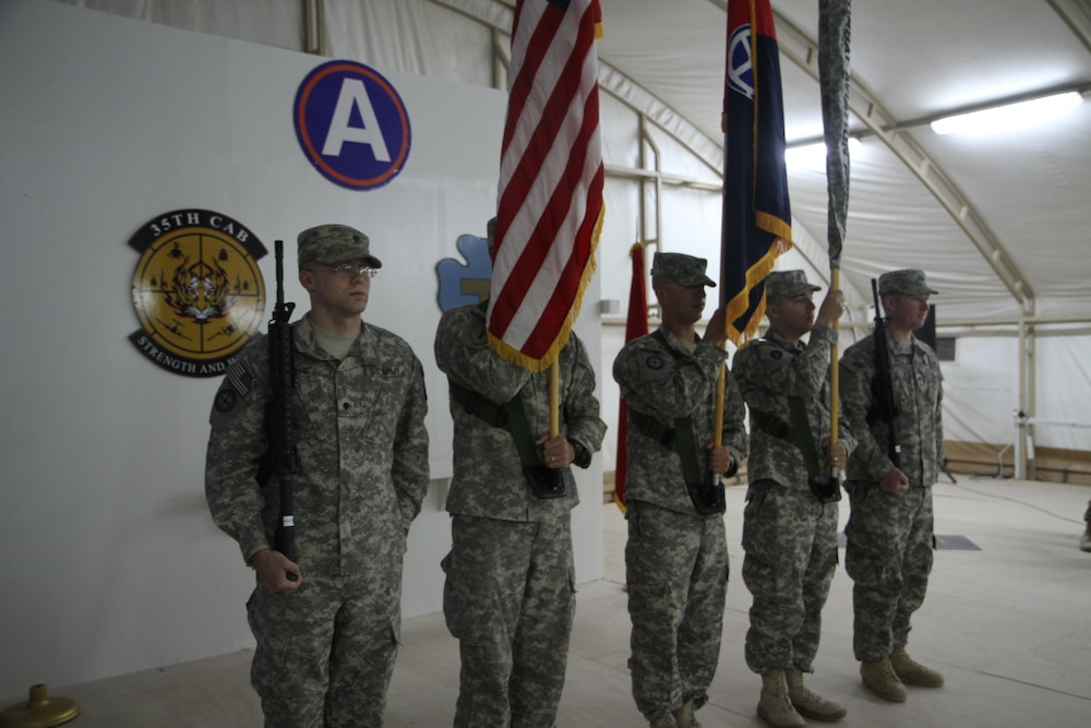 The 35th Combat Aviation Brigade cases its colors