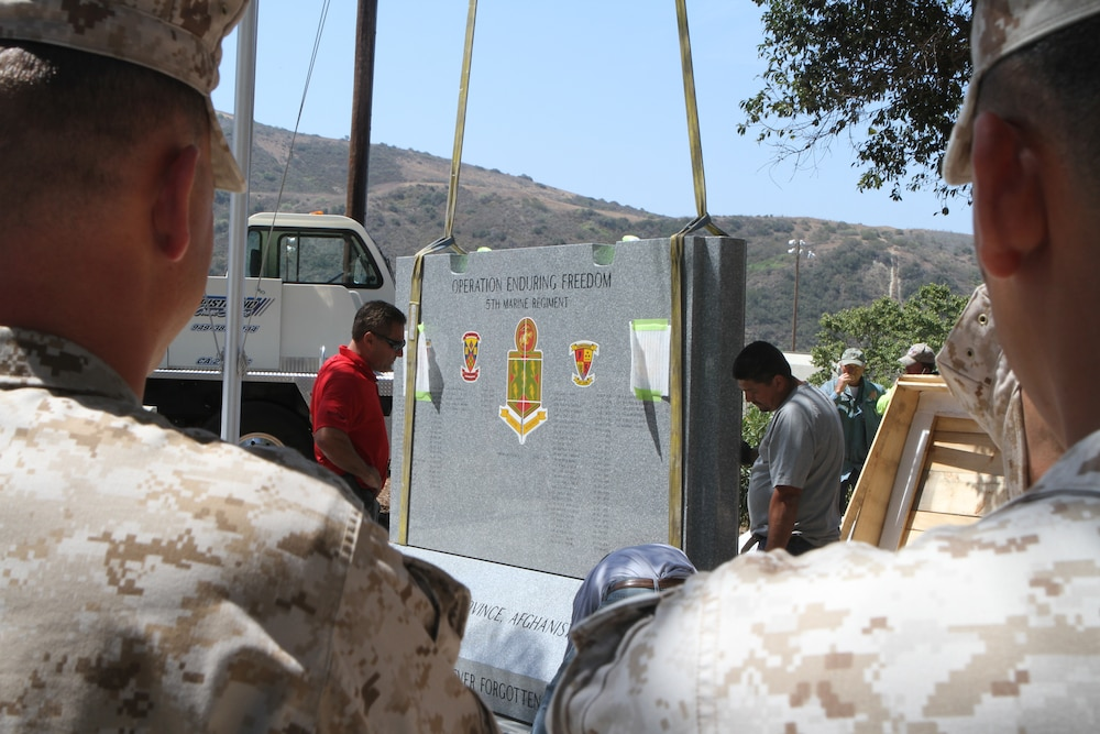 Patriot Guard Riders, Marines escort 5th Marine memorial to Camp San Mateo