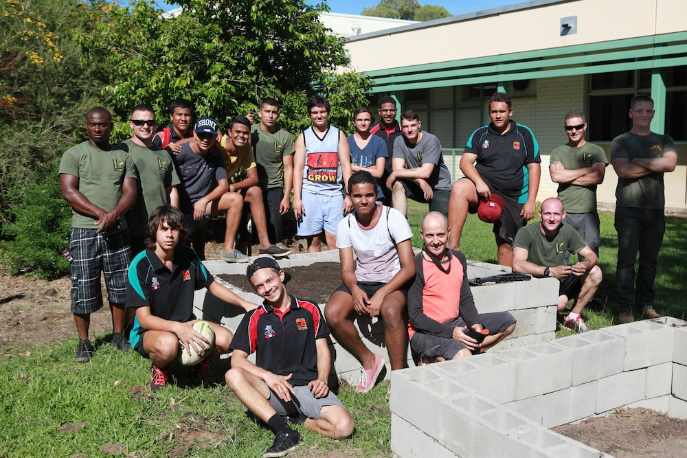 MRF-D Marines and NT students build garden