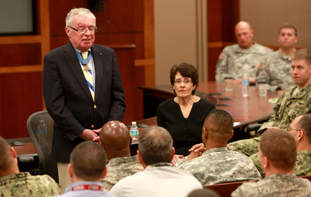 Vietnam Medal of Honor Recipient visits USCENTCOM, speaks to troops.