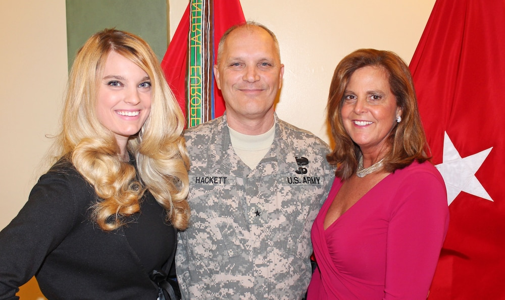 Brig. Gen. Bruce Hackett and family celebrate his promotion