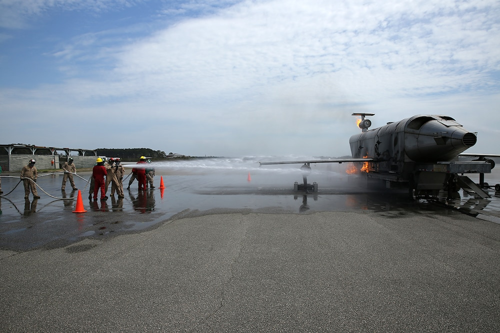 VMA-542 Marines learn shipboard firefighting