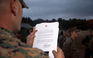 Artillery Marines celebrate 239th birthday in field environment