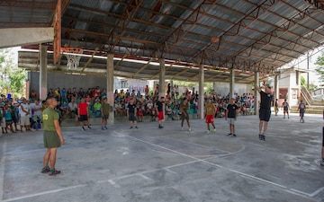 Panay CJCMOTF plays basketball in Taft Barangay during Balikatan