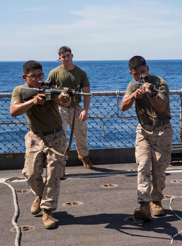 U.S. Marines embark on the USNS Sacagawea to begin Exercise Koa Moana 15.2