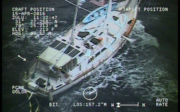 Coast Guard rescues 3 from storm-tossed sailboat