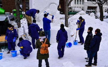 Misawa Sailors Commence Snow Sculpting at 68th Sapporo Snow Festival