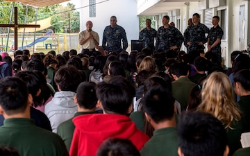 USS Lake Champlain Sailors Visit Students in Saipan