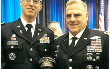 CW2 Larsen receives General MacArthur Leadership Award
