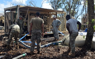 Soldiers purify water for residents near Guajataca Lake Puerto Rico
