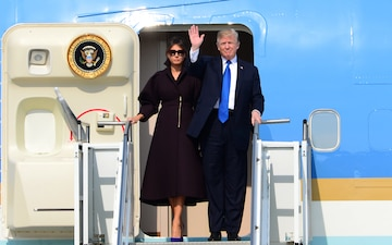 President Donald J. Trump lands at Osan Air Base