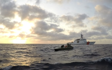 Coast Guard Cutter Bertholf boarding team interdicts drug smuggling vessel in the Eastern Pacific Ocean