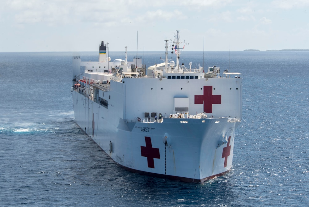 USNS Mercy Transits waters near the Ulithi Atoll