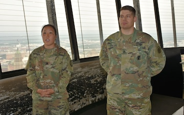 Army tradition continues as health care recruiter gets promoted on top of world