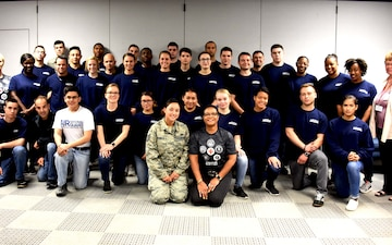 American Red Cross team meets with 166th Airlift Wing Student Flight Recruits