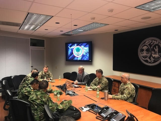 South Carolina National Guard and Colombia discuss emergency management operations
