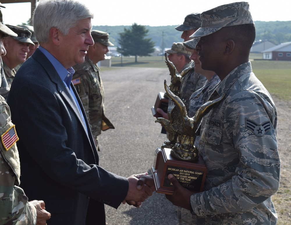Governor, Adjutant General honor Michigan's top soldiers and airmen at pass and review