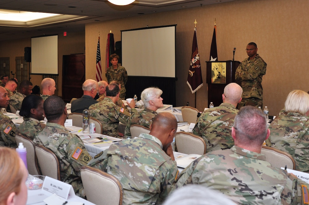 Photo By Courtney Dock | The U.S. Army Surgeon General and the Commanding General, U.S. Army Medical Command, Lt. Gen. Nadja West, and MEDCOM Command Sergeant Major, Command Sgt. Maj. Michael Gragg spoke during the Army Medicine Leadership Forum Oct. 11, 2018, on Fort Belvoir, Va. The priority of the leader forum is MEDCOM's way forward during a time of significant transformation in the overall Army. (U.S. Army photo by Courtney Dock)