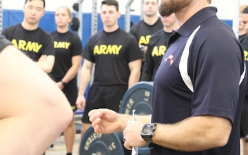 Soldiers of the 1st Infantry Division hit the gym at Craig Fitness Center on Fort Riley for a three-day Human Performance Course lead by the 75th Ranger Regiment, Dec. 11-14, 2018.