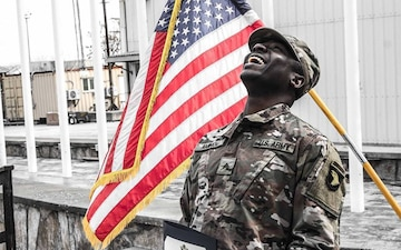 Spc. Ayi Aminou gets promoted to Sgt.