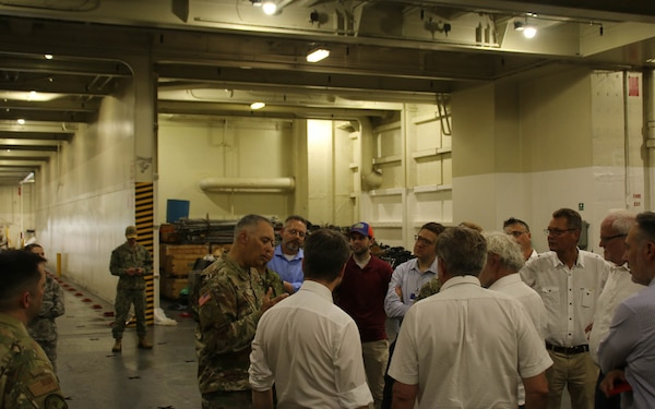 Members of the NATO Military Support Workshop toured the U.S.N.S. Watkins (T-AKR 315) while moored at Wharf Alpha on Joint Base Charleston, South Carolina