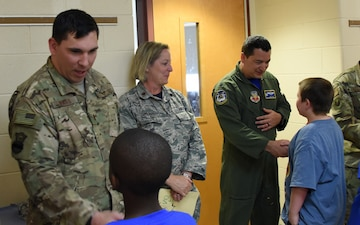 NY National Guard Airmen from 106th Rescue Wing share Flag Day with kindergarten students