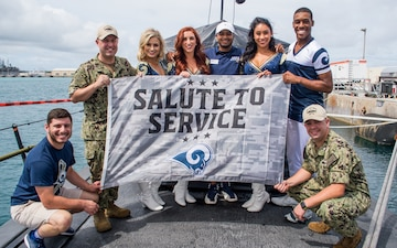 USS Key West Hosts Rams Cheerleaders