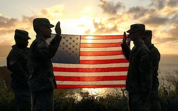 Soldier Reenlists over the Island of Oahu